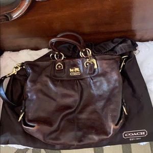 Coach brown leather handbag/shoulder bag